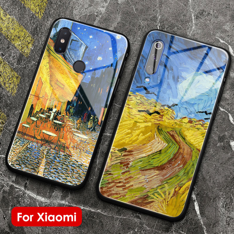Van gogh galeria de vidro silicone macio caso do telefone capa escudo para xiaomi mi 5 s 6x8 9 se explorar mi mix 2 2s 3 redmi nota 5 6 7