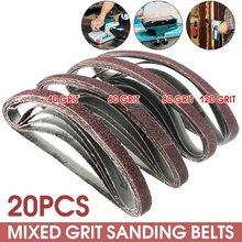 20pcs/Pack Powerfile Sanding Sander Belts Paper Mixed Grit 60 80 120 240 for Air Belt Sander 13mm x 457mm