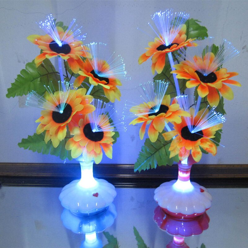 1 lámpara LED de fibra óptica con flores artificiales para mesa flor Calla lirio florero decoración nocturna para decoración de fiesta en casa