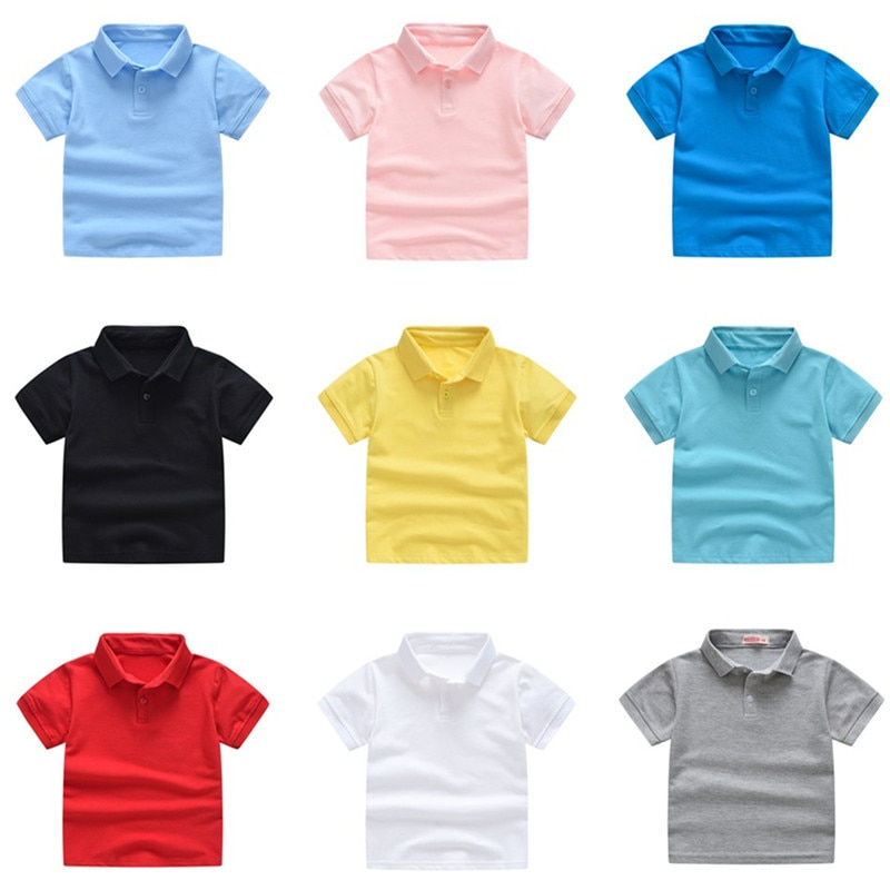 2021 New Childrens Summer Cotton Short Sleeved Shirt Baby Boys Girls Solid Color Polo 2-7Y Kids Brand Clothes Out