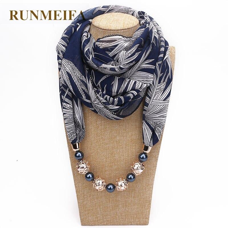 RUNMEIFA 2019 nowych moda kobiet solidna biżuteria wisiorek szal szyfonowy perła szale i okłady miękkie kobiece akcesoria 63 kolory