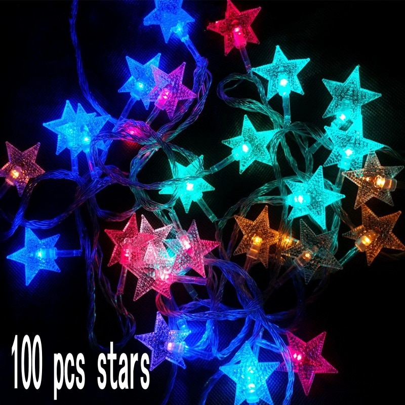 100 Led مليء بالنجوم سلسلة ضوء 10M الجنية ستار ضوء سلسلة ل حزب عطلة عيد الميلاد السنة الجديدة الزفاف عيد ميلاد الحزب الديكور