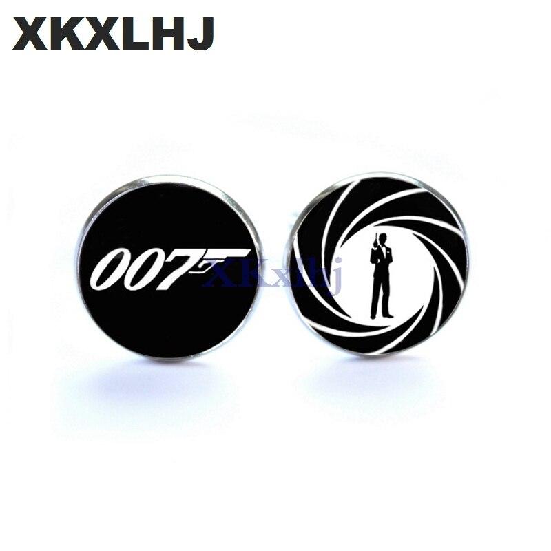 XKXLHJ New Fashion James Bond Cuff links James Bond 007 Cufflinks For Mens Brand Cuff Button Glass Cuff