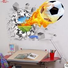 Autocollants muraux 3d en vinyle   Offre spéciale, ballon de football, stickers muraux en vinyle pour enfants, décoration murale artistique pour chambres de garçon et Sport