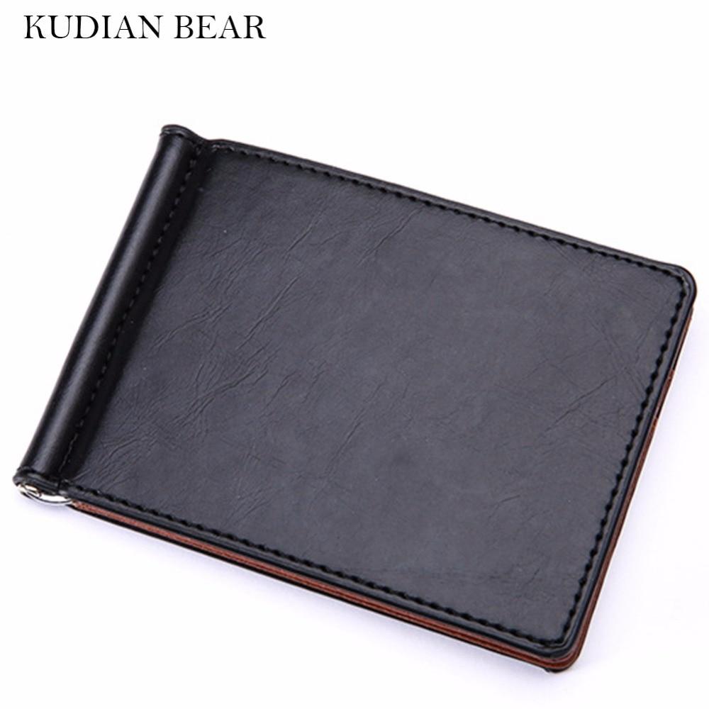 KUDIAN BEAR cuero hombres dinero Clips Metal sólido carteras para tarjetas de crédito billetera dinero abrazadera portafoglio nuevo -- BID196 PM49