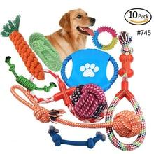 Jeu de jouets en corde de coton pour animaux   Jouets à mâcher, amusants, dents propres pour petits chiens, chats, chiot, formation, jouet interactif, fournitures pour animaux de compagnie
