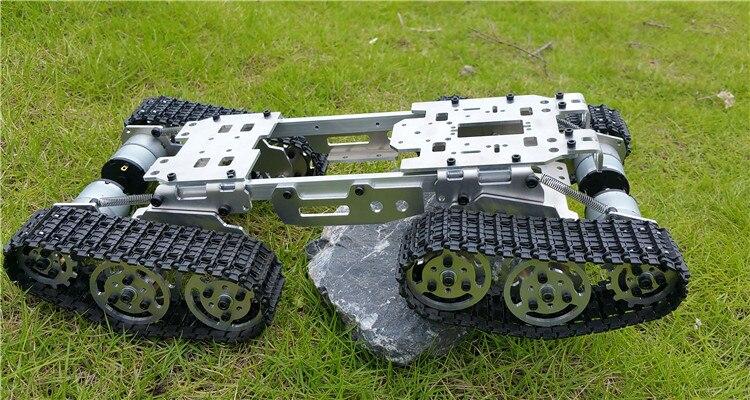 Inteligência rc tanque carro caminhão robô chassi 393mm * 206mm * 84mm corpo liga cnc + 4 faixas de plástico 4 motores diy rc brinquedo