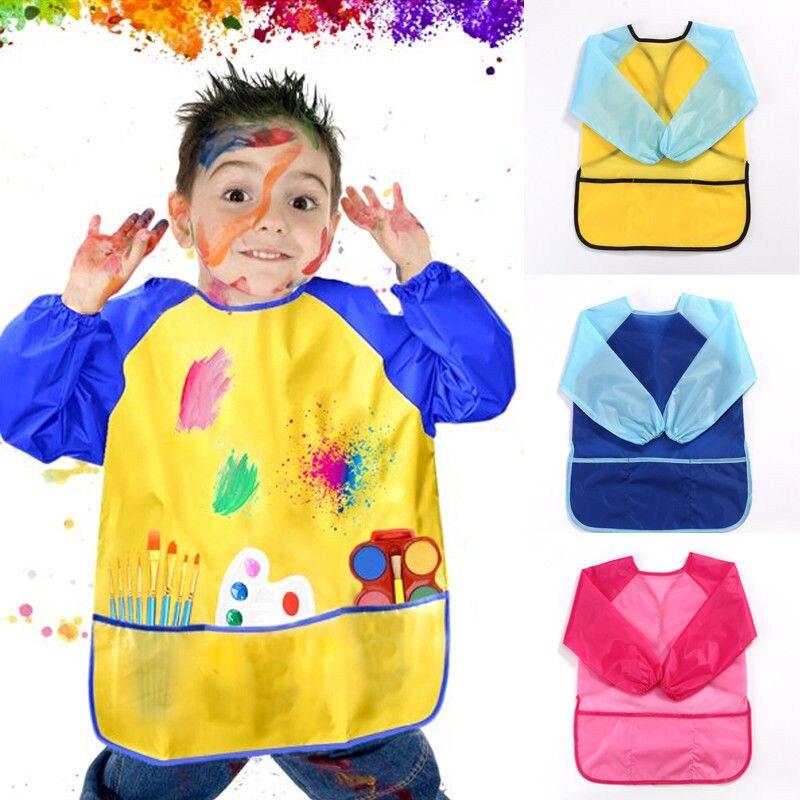 Unisex impermeable niños pintura delantal delantales artísticos de Nylon manga larga pintura camisa delantal para pintar bebé babero escuela herramienta de pintura