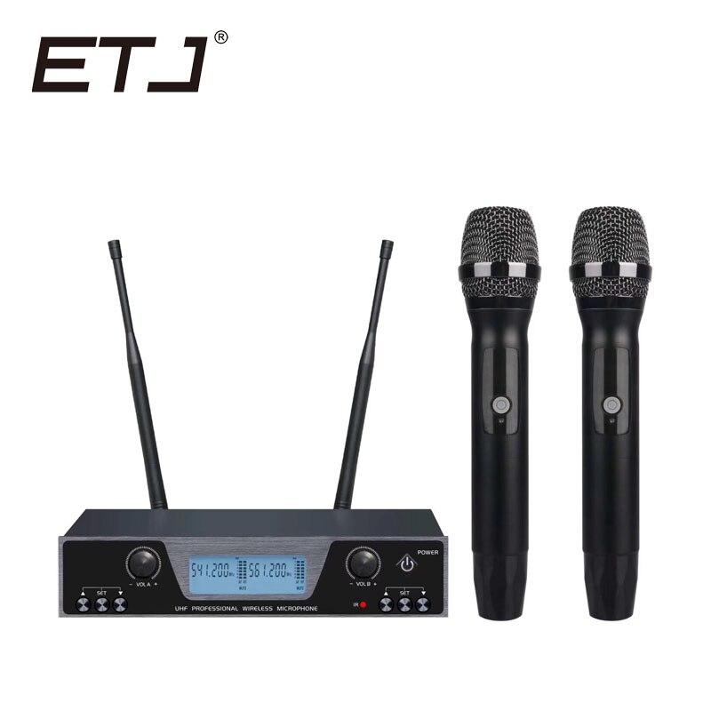Micrófono inalámbrico UHF doble profesional 2 micrófono portátil Karaoke puesta en escena micrófonos EM22