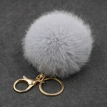 8CM Fluffy Pompom Real Rabbit Fur Ball Key Chain Women Trinket Pompon Hare Fur Toy keyring Bag Charm