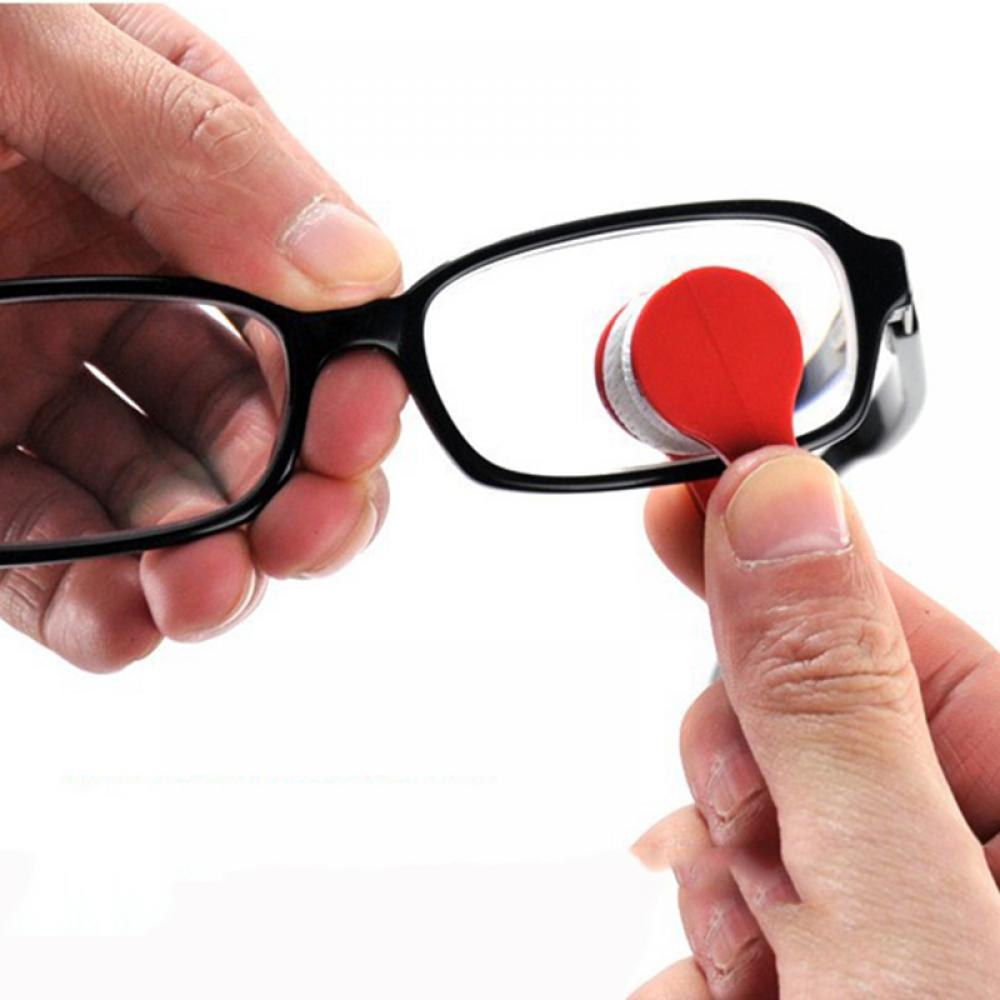2Pcs Plastic Mini Sun glasses Microfiber Spectacles Cleaning Brushes Eyeglass Washing Pad Mat Travel