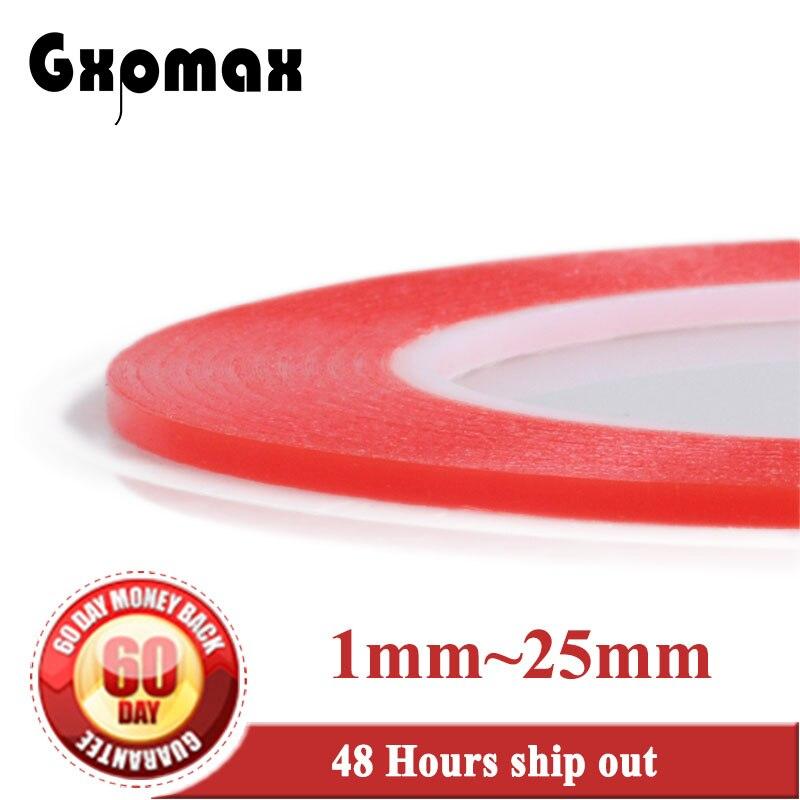 GXPMAX 1 Rolo de 25 M Adesivo Resistente Ao Calor Double-sided Fita Adesiva Transparente Claro 1mm 2mm 3mm 4mm 5mm 6mm 8mm 10mm ~ 25mm