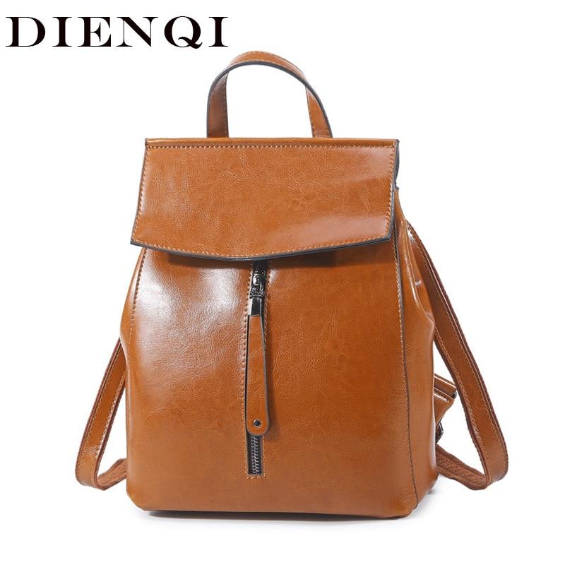 DIENQI, mochila multifuncional de cuero para mujer, 2018, mochila de lujo Vintage de cuero genuino para mujer, mochila escolar para mujer, mochila