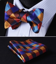 Pocket Square Classic Party Wedding BC703NS Orange Blue Check Bowtie Men Silk Self Bow Tie handkerchief set
