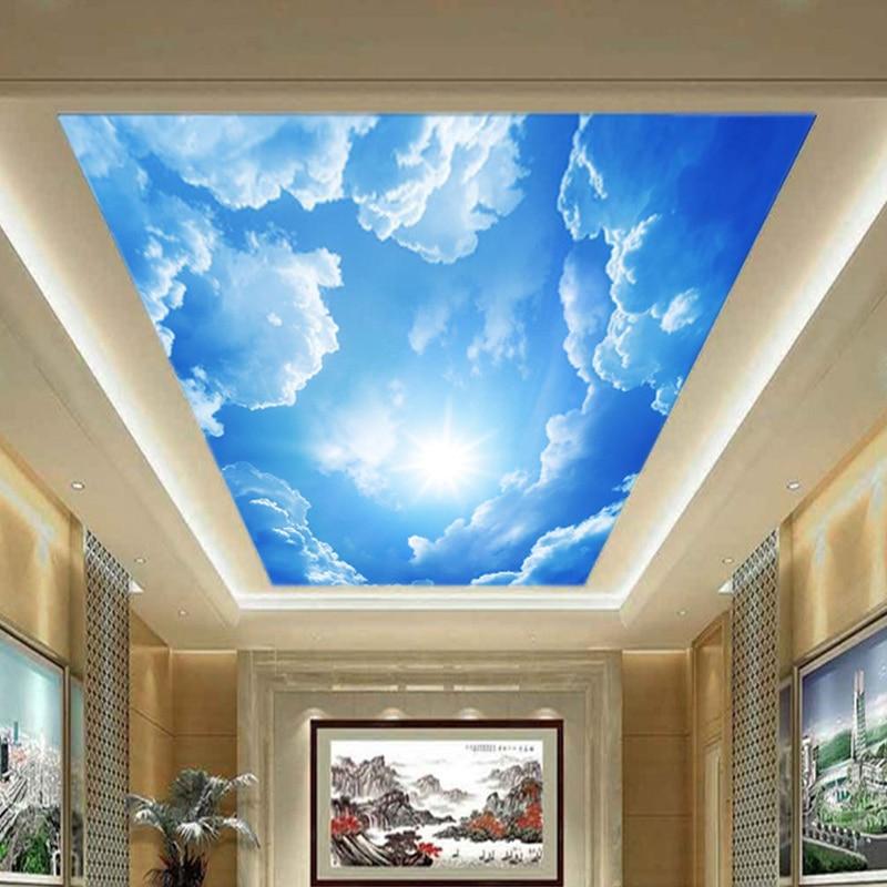 Tamaño personalizado cielo azul nubes blancas 3D pegatina de techo extraíble impermeable autoadhesivo pared Mural foto papel tapiz para dormitorio