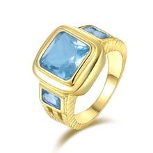 SuoHuan tamaño 8-12 encantos hombres anillo ZIRCON azul cielo piedra de cristal de oro lleno de fiesta de compromiso anillo para hombre Regalos de joyería para dedo