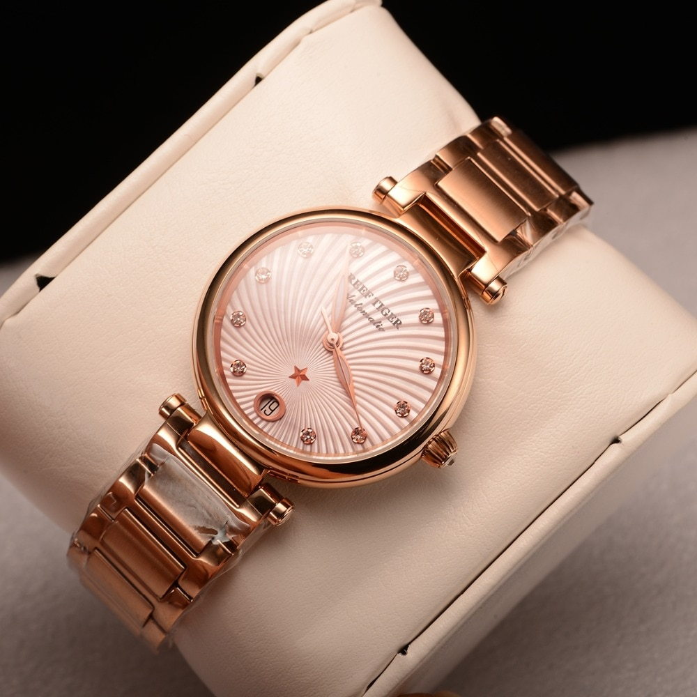 Reef Tiger/RT 2021 Top Brand Luxury Women Watch Rose Gold Ladies Diamond Bracelet Watches Date Relogio Feminino Gift RGA1590 enlarge