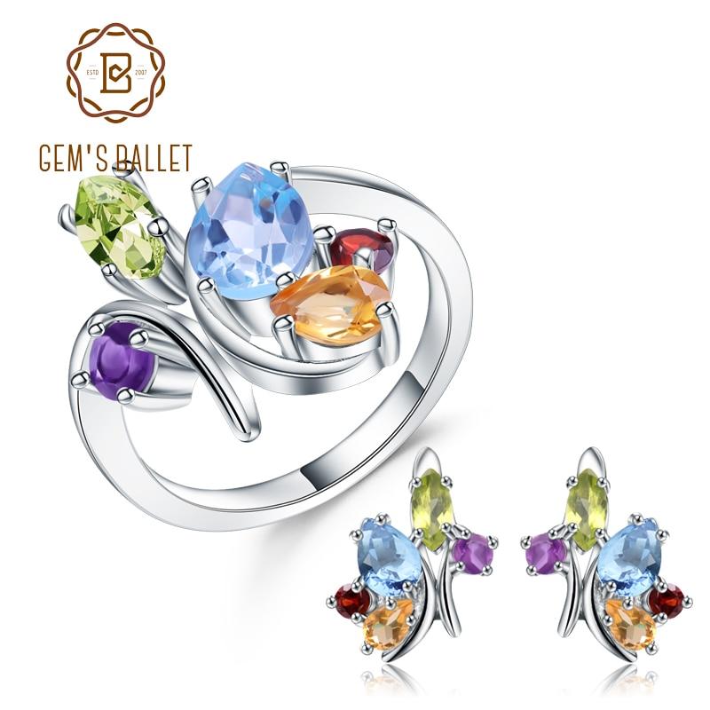 Conjunto de brincos de topázio de pedra preciosa 925 conjuntos de jóias de prata esterlina para a mulher fina