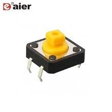 Interrupteur Tact taille SMD 12*12*17.3MM   Bouton carré noir, 4PIN, Mini Micro, interrupteur Tactile momentané, 50 pièces