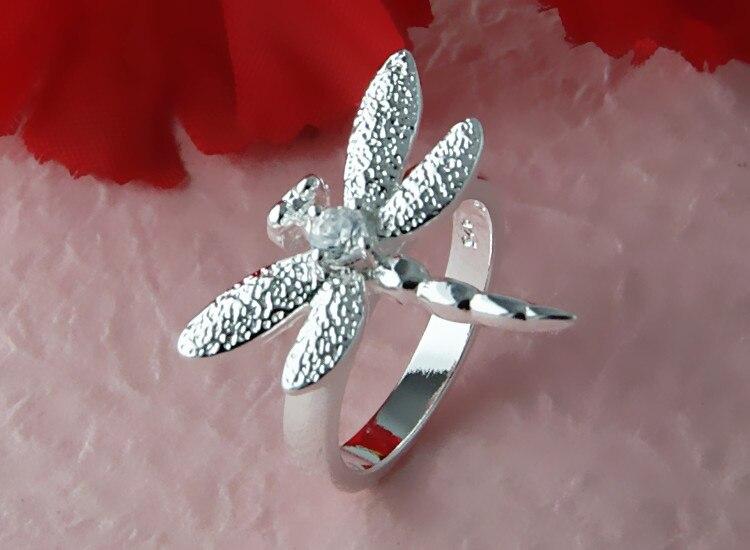 Nueva joyería de moda, anillos de libélula con decoración de color plateado, joyería encantadora para mujeres con caja de anillo gratis, regalo de cumpleaños