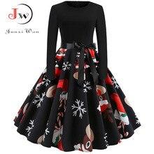 Winter Kerst Jurken Vrouwen 50S 60S Vintage Gewaad Swing Pinup Elegante Party Dress Lange Mouwen Casual Plus Size print Zwart