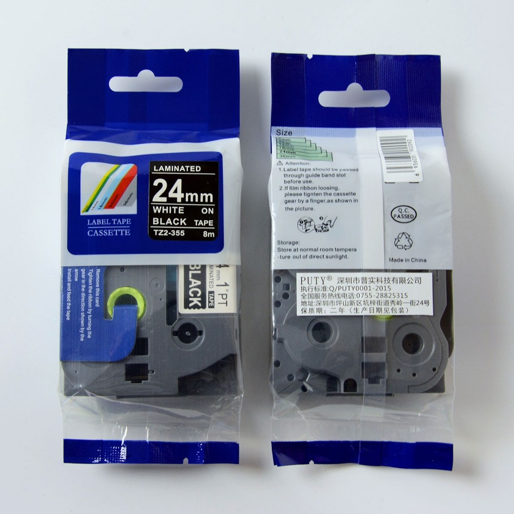 2 PK/lote 24mm brother tze cinta blanca sobre negro tze 355 tze-355 tze355 tz355 para p cinta de etiqueta táctil fabricante