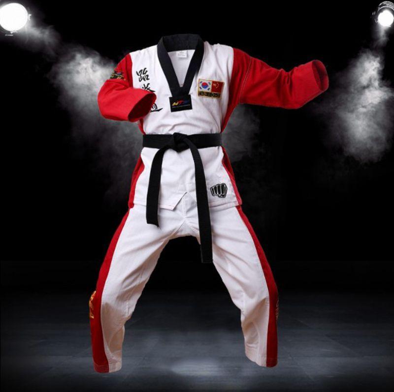 Uniforme de Taekwondo de color de alta calidad para adultos, niños, adolescentes, Poomsae dobok rojo, azul, negro, tae kwon, ropa, ¡envío gratis!