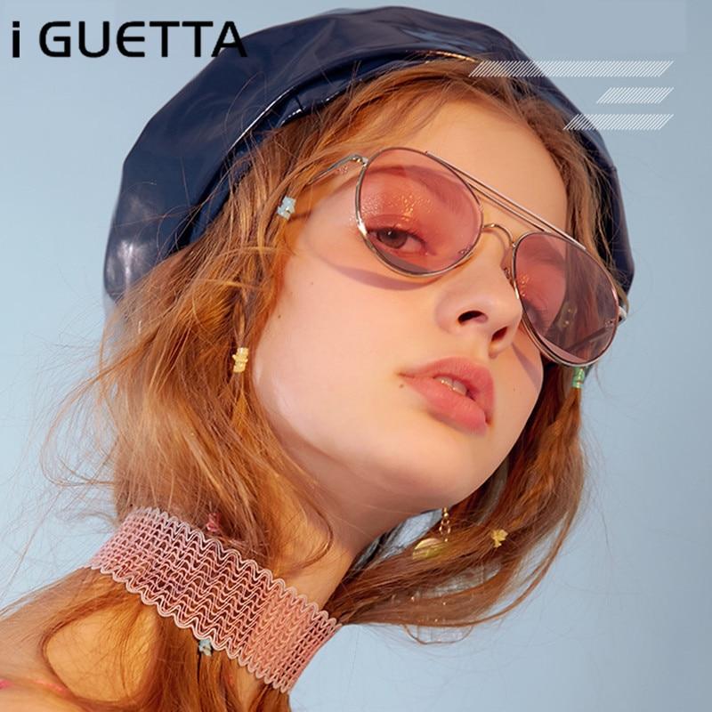 Iguetta 2019 luxo oval óculos de sol das mulheres marca designer óculos metal quadro colorido marinho gradiente lente na moda iyjb181