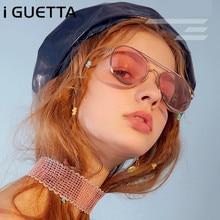 iGUETTA 2019 Luxury Oval Sunglasses Women Brand Designer Metal Glasses Frame Colorful Marine Gradient Lens Fashionable IYJB181
