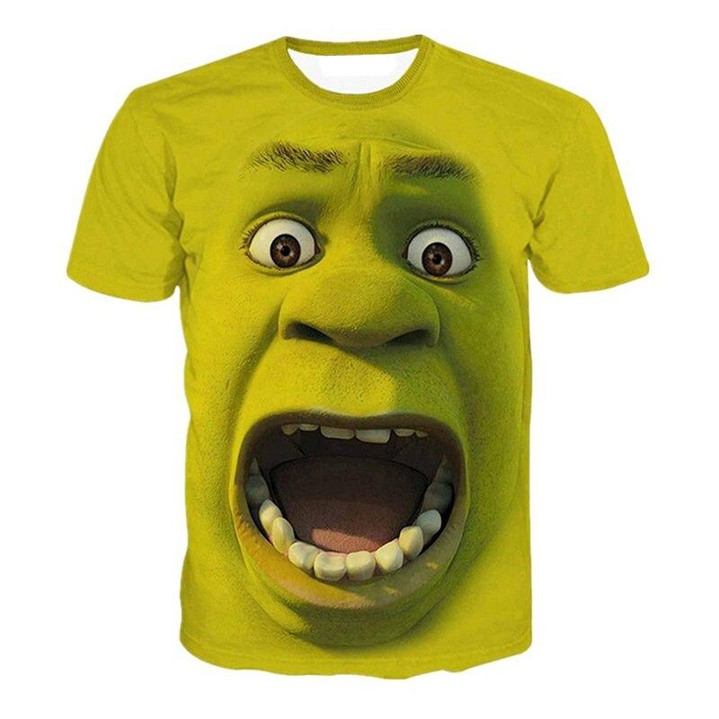 Футболка KYKU Shrek, забавная футболка в стиле хип-хоп с коротким рукавом и 3d принтом