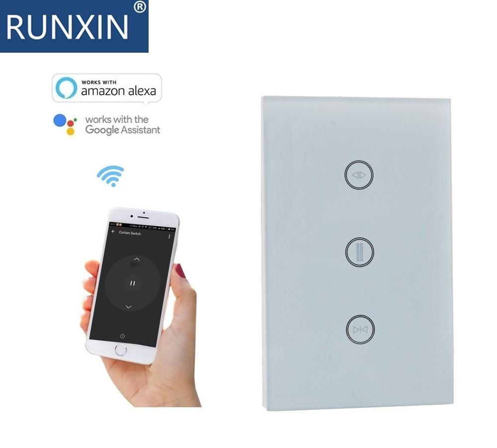 Interruptor táctil, interruptor de cortina WIFI, funciona con Amazon Alexa, asistente de google