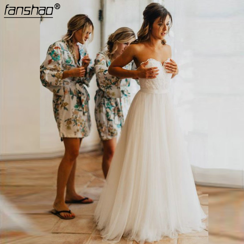 Off the Shoulder Vestido de Noiva Simple Ivory Destination Wedding Dress 2019 Gardern Bridal Gown Robe De Mariee