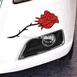 Rosa vermelha ou azul rosa flores adesivos de carro e decalques carro-capas de estilo do carro para tesla toyota chevrolet ford hyundai volkswagen