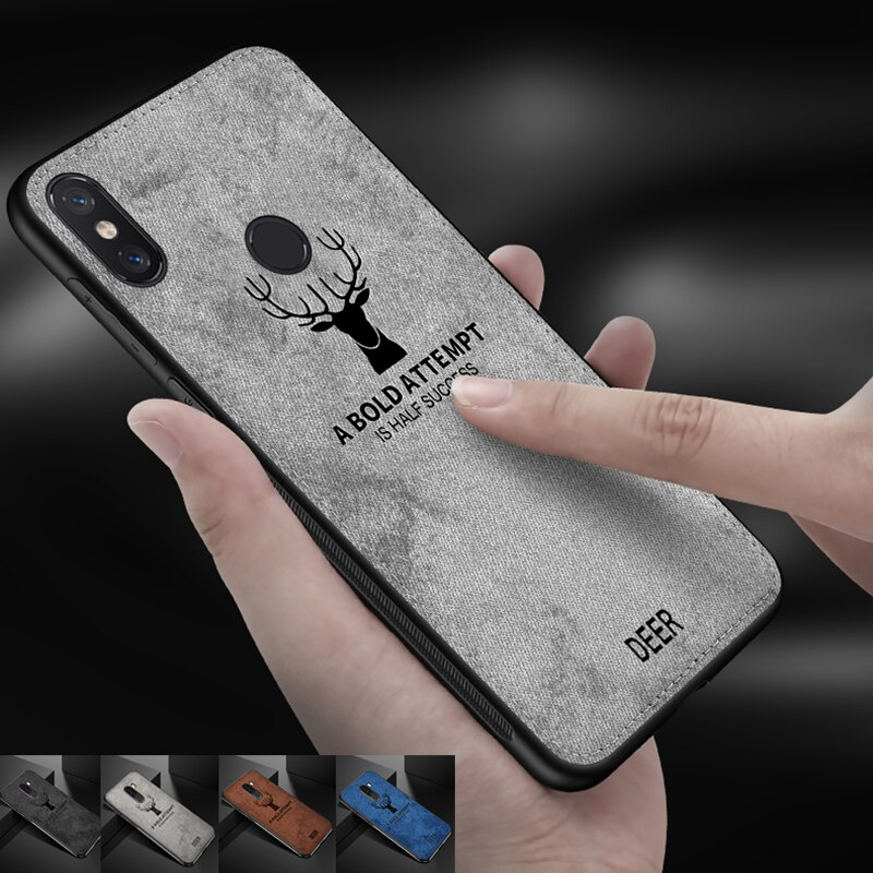Luxury 360 Soft Tpu Edge Embossed Deer Cloth Phone Case For Xiaomi Pocophone F1 mi 8 5 6 my 8 mi6 mi8 Max 2 3 Canvas Shell Cover