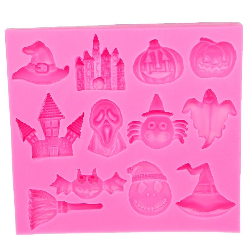 ¡Oferta! Sombrero de bruja calabaza Halloween Castillo murciélago escoba molde de silicona pastel Fondant DIY herramientas de decoración E586