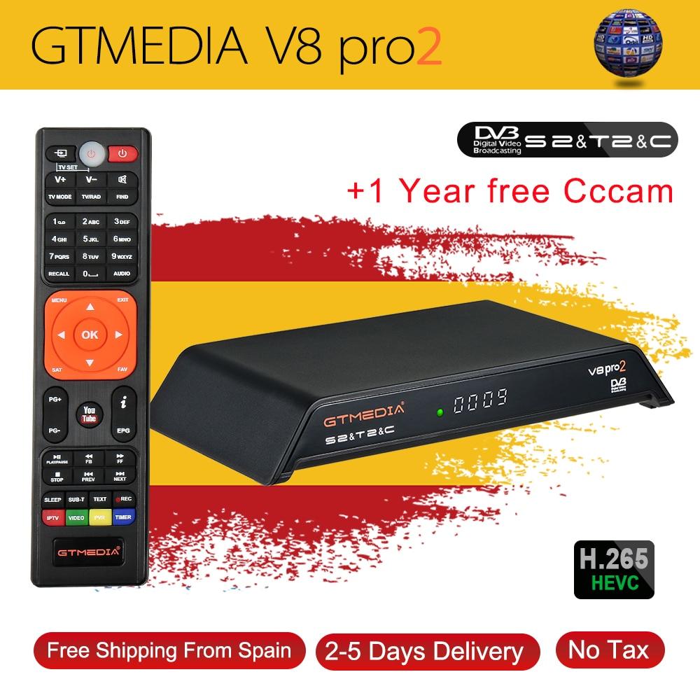 Freesat V8 PRO2 Combo receptor de satélite con libre 1 año Europa 7 Clines Cccam Server DVB-S2 + T2/C/Biss clave pk v8 de oro