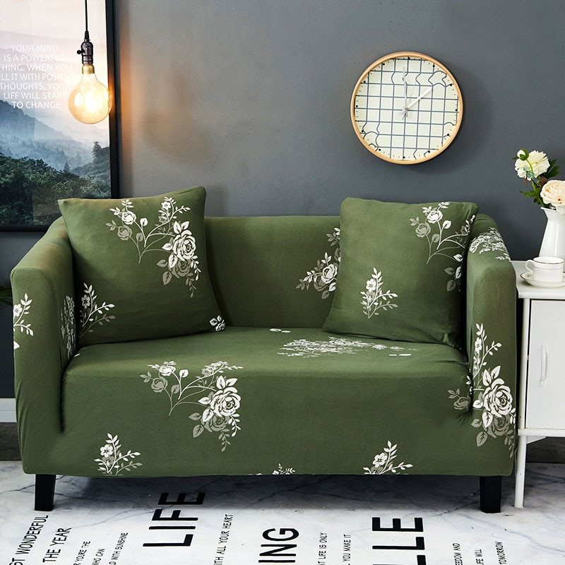 Planta verde Anti-sucio funda de sofá plantas Floral Spandex elástico nórdico Eleglant flores funda de sofá Stretch hogar