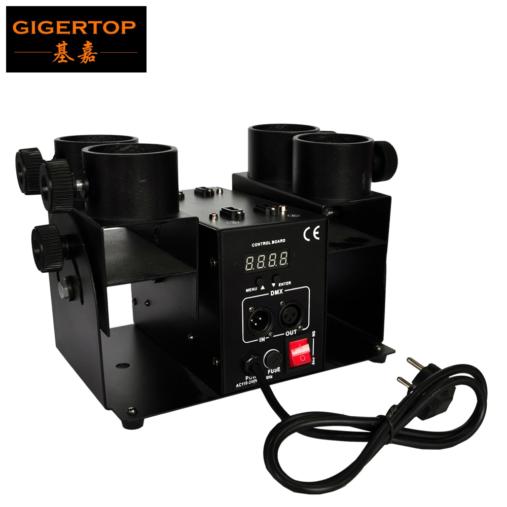 Cañón de confeti Gigertop, TP-T181A-2, modelo económico, 4 tomas, tamaño compacto, DMX, 4 canales, lanzador de disco para Fiesta escenario de boda