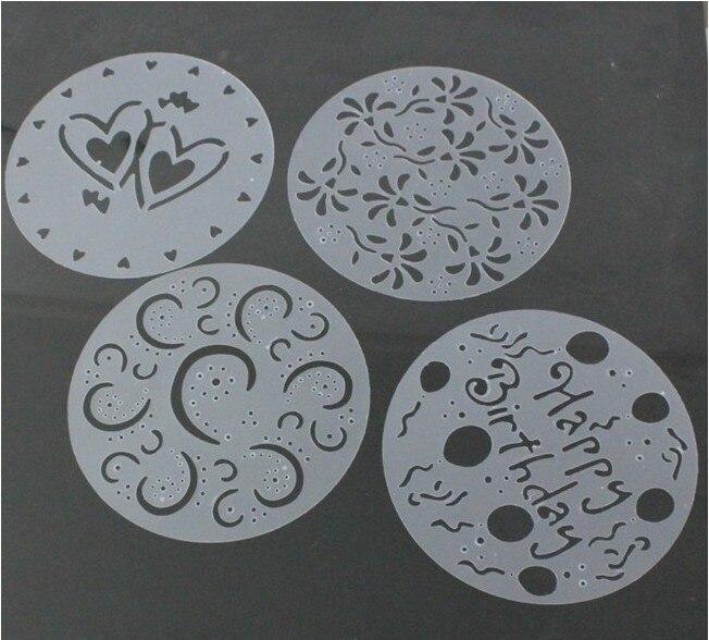 4 pçs/lote Bolo Stencils Spray Mold Bolo Redondo Flores Sweet Heart Spray Mold Bolo de Sobremesa Bolo de Aniversário Molde Impressão OK 0237