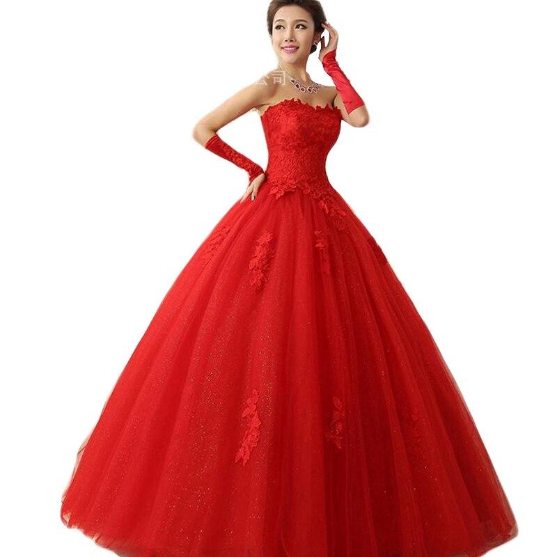 Vestido de Novia rojo sin tirantes con cordones, XS-XXL de lujo, con...
