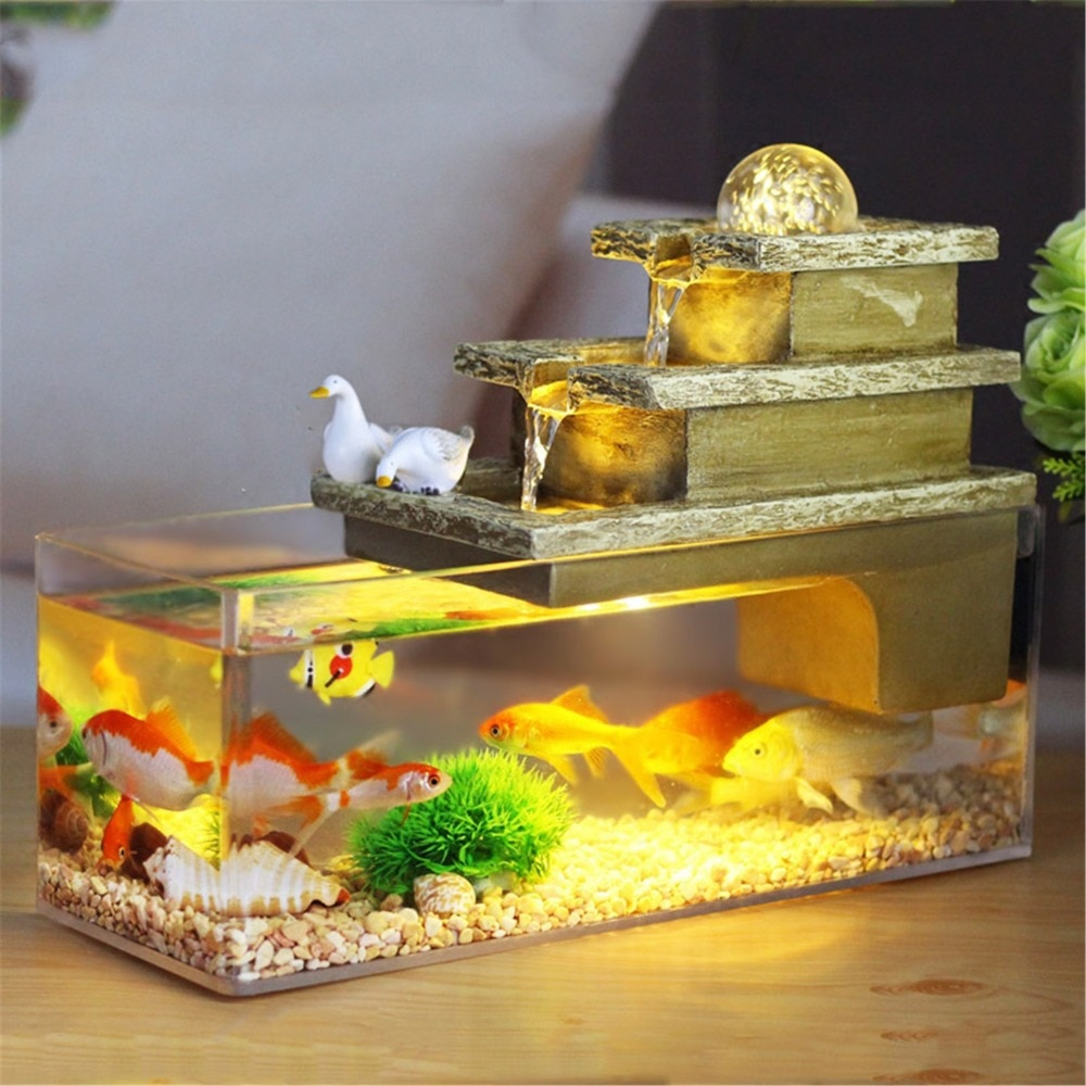 Regalo de Navidad, decoración para interior del hogar, característica del agua, bola rodante rectangular, fuente cascada, juego de pecera para acuario