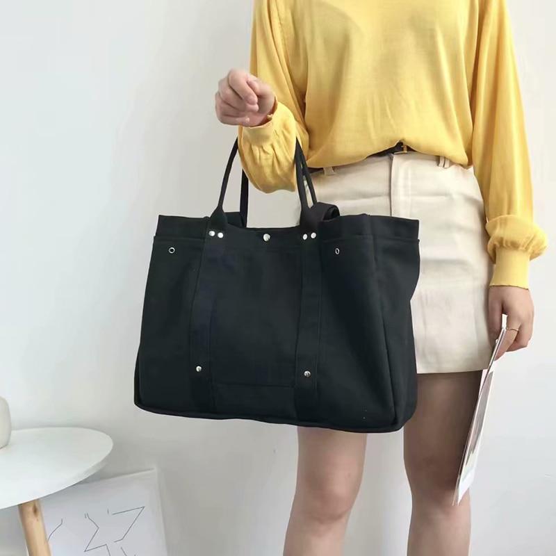 2020 New Canvas Cotton Bags Women Handbags Ladies Big Tote Bags Reusable Beach Bags Casual Crossbody Shoulder Bag Whole Sale