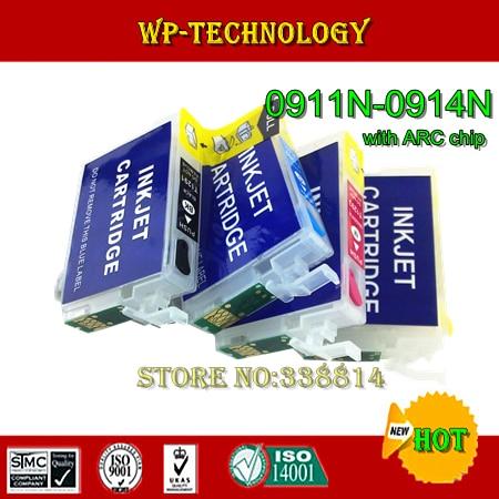 Terno cartucho Refil vazio para T0911 T0912 T0913 T0914, terno para Epson Stylus C90 CX5500 CX5505, com fichas ARC