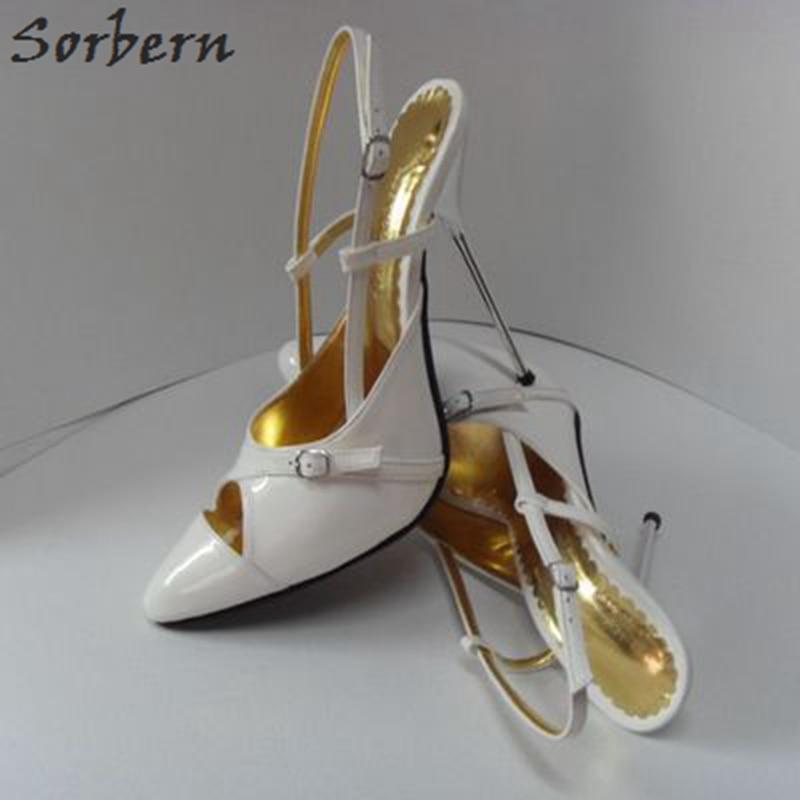 Sorbern حجم 33-52 النساء أحذية خفيفة أحذية الخناجر واشار تو الكعوب المعدنية 14 سنتيمتر الفضة كعب حفلة موسيقية حجم 33 منس أحذية