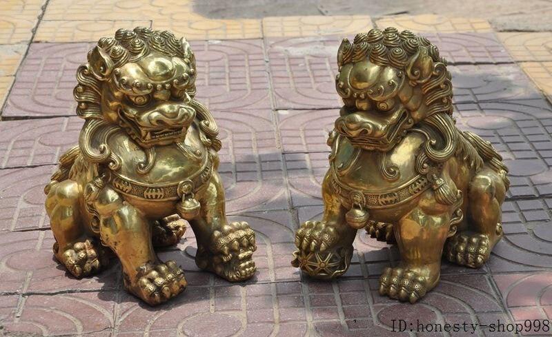 Navidad 13 pulgadas latón chino Feng Shui Fu Foo perro guardián pelota de León estatua escultura par halloween
