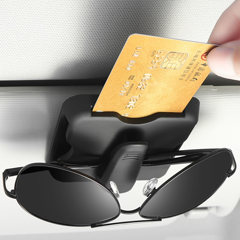 1x Car Organizer Card Holder Sun Visor Clip Sunglasses Holder For Toyota Corolla RAV4 Camry Prado Hi