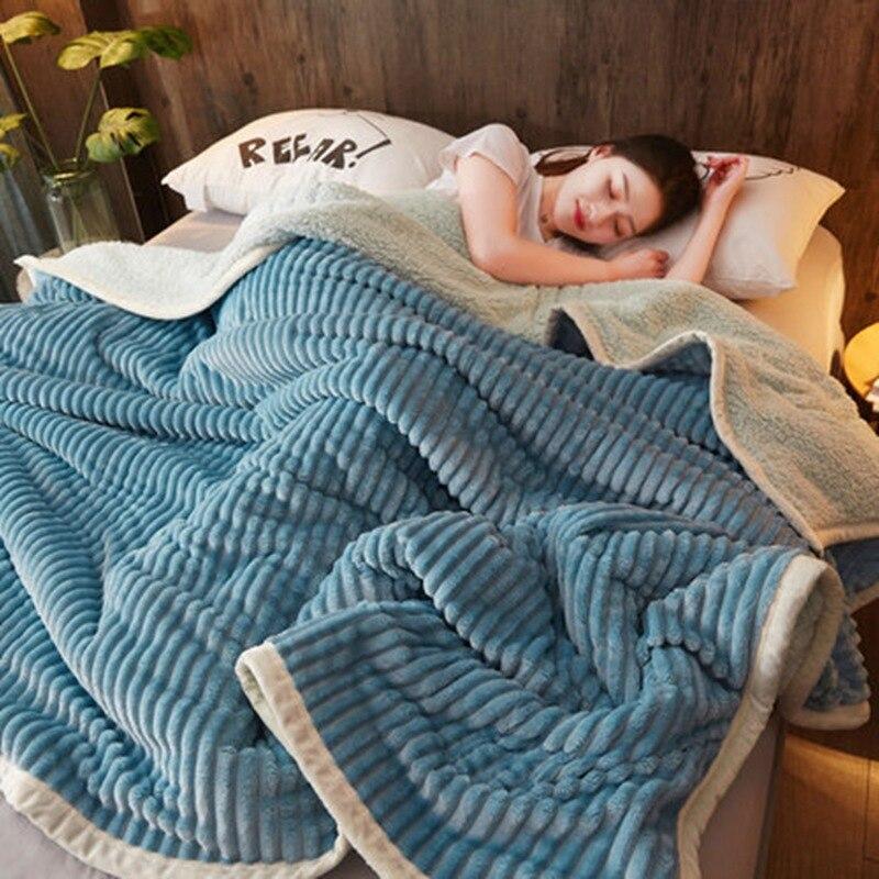 4 اللون الفانيلا الصوف الدافئة لينة سميكة الفراء يلقي بطانية لون نقي ل السرير الأريكة أريكة