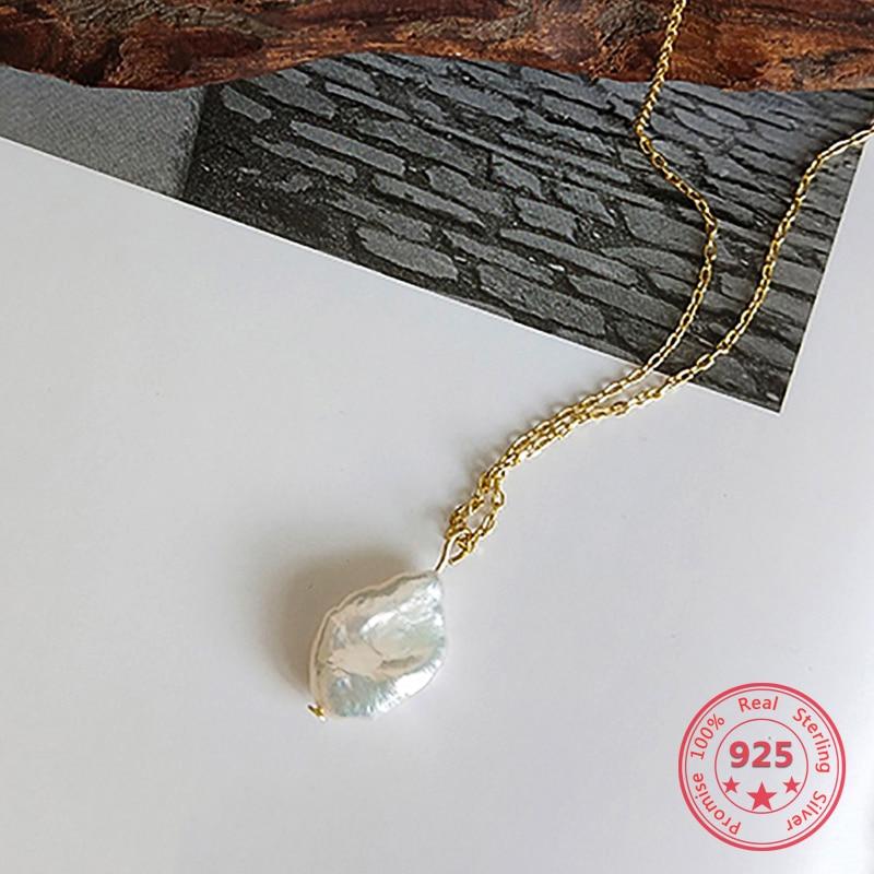 Corea del estilo caliente de plata esterlina pura 925 barroco collar de perlas para mujeres delicado encantos de la moda joyas collar dorado