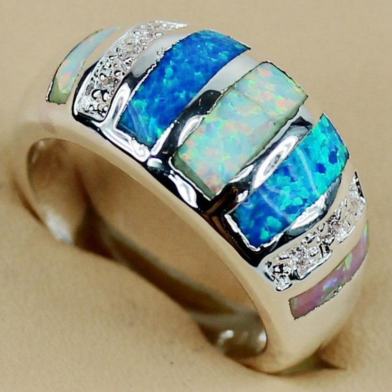 SHUNXUNZE Rosa Blanco azul mezcla de ópalo encanto Anillos De Compromiso joyería y accesorios para mujeres rodio plateado R3562 Tamaño 7 9