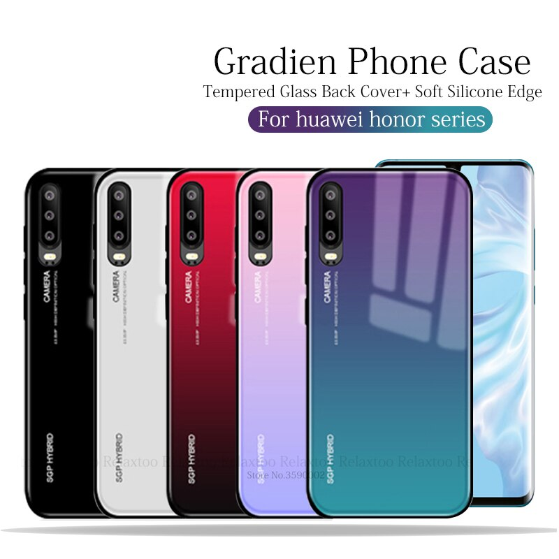 Fashion Gradient phone case For huawei p30 pro p20 light Glass back cover shell on honor 10 9 lite 8x 8c hauwei nova 3e 4e coque